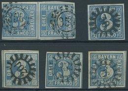 BAYERN 2II O, 1859, 2 Kr. Blau, Ein Paar Und 4 Pracht- Und Kabinettwerte Mit Verschiedenen Nummernstempeln - Bavaria