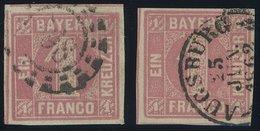 BAYERN 3I O, 1850, 1 Kr. Hellrot, Type I, Mit K2 Und Offenem MR-Stempel, 2 Prachtwerte - Bavaria