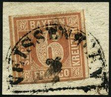 BAYERN 4I BrfStk, 1849, 6 Kr. Dunkelbraunorange, Type I, Segmentstempel WEISSENHORN, Unten Berührt Sonst Prachtbriefstüc - Bavaria