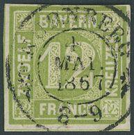 BAYERN 12 O, 1862, 12 Kr. Dunkelgelbgrün, Idealer Zentrischer K2 NÜRNBERG, Pracht - Bavaria