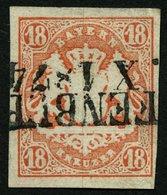 BAYERN 19 O, 1867, 18 Kr. Dunkelzinnoberrot, L2, Gepr. Engel, Mi. (220.-) - Bavaria