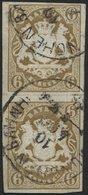 BAYERN 20 Paar O, 1868, 6 Kr. Ockerbraun Im Senkrechten Paar, K1 MÜNCHEN BAHNH., Pracht (waagerechten Bugspur Zwischen D - Bavaria