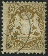 BAYERN 24X O, 1870, 6 Kr. Lebhaftockerbraun, Wz. Enge Rauten, Etwas Dezentriert, Pracht, Mi. 90.- - Bavaria