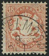 BAYERN 27Xb O, 1870, 18 Kr. Dunkelziegelrot, Wz. Enge Rauten, Feinst, Gepr. Stegmüller, Mi. 240.- - Bavaria