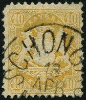 BAYERN 29YbII O, 1973, 10 Kr. Dunkelgelb Mit Plattenfehler Linke Untere Bildecke Beschädigt, Eckzahnfehler Sonst Pracht - Bavaria