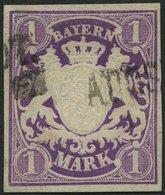 BAYERN 30a O, 1874, 1 M. Violett, Pracht, Gepr. Stegmüller, Mi. 100.- - Bavaria