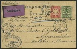 BAYERN 56By,P 38 BRIEF, 1894, 10 Pf. Karminrot, Als Zusatzfrankatur Auf 5 Pf. Ganzsachenkarte, Nachnahmekarte Von NÜRNBE - Bavaria