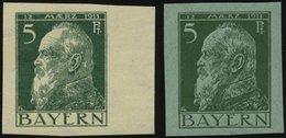 BAYERN 77PU **, 1911, 5 Pf. Luitpold, 2 Ungezähnte Probedrucke Auf Grünem Und Weißem Papier, 2 Prachtwerte, Gepr. Dr. He - Bavaria