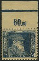 BAYERN 89I O, 1911, 5 M. Luitpold, Type I, Pracht,Mi. 60.- - Bavaria