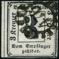 BAYERN P 1 O, 1862, 3 Kr. Schwarz, Nummernstempel 476, Feinst (helle Stelle), Mi. 400.- - Bavaria