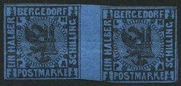 BERGEDORF 1bZW **, 1867, 1/2 S. Schwarz Auf Blau Im Waagerechten Zwischenstegpaar, 2 Waagerechte Starke Büge, Feinst, Si - Bergedorf