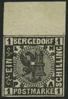 BERGEDORF 2 **, 1861, 1 S. Schwarz, Postfrisch, Oberrandstück (dort Falzrest), Kabinett - Bergedorf