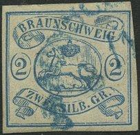 BRAUNSCHWEIG 2 O, 1852, 2 Sgr. Lebhaftpreußischblau, Pracht, Gepr. Brettl, Mi. 350.- - Brunswick