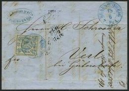 BRAUNSCHWEIG 2 BRIEF, 1852, 2 Sgr. Lebhaftpreußischblau Mit Blauem K2 BRAUNSCHWEIG, Breitrandiges Prachtstück Auf Brief  - Brunswick