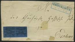 BRAUNSCHWEIG 7a Paar BrfStk, 1853, 2 Sgr. Schwarz Auf Blau Im Waagerechten Paar (senkrecht Vorgefaltet), Rechte Marke Ob - Brunswick