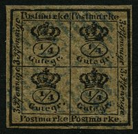 BRAUNSCHWEIG 9a O, 1857, 4/4 Ggr. Schwarz Auf Graubraun, Seltener Blauer Nummernstempel 23 (HOHEGEISS), Unten Minimaler  - Brunswick