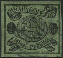 BRAUNSCHWEIG 10A O, 1863, 1/2 Gr. Schwarz Auf Lebhaftgraugrün, Pracht, Signiert H. Krause, Mi. 300.- - Brunswick