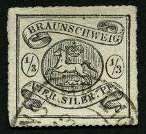 BRAUNSCHWEIG 13A O, 1864, 1/2 Sgr. Schwarz, Bildseitig Pracht, Leicht Erhöht Signiert Bühler Und Pfenninger, Mi. 2800.- - Brunswick