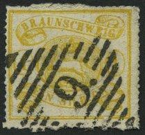 BRAUNSCHWEIG 14A O, 1864, 1 Sgr. Gelbocker, Durchstochen 16, Pracht, Mi. 180.- - Brunswick