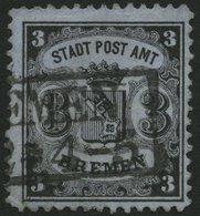 BREMEN 11 O, 1867, 3 Gr. Schwarz Auf Blaugrau, Pracht, Signiert Thier, Mi. 450.- - Bremen