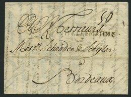 HAMBURG VORPHILA 1743, DALLEMAGNE, L1 In Schwarz Auf Brief Von Hamburg Nach Bordeaux, Feinst - Thurn And Taxis