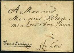 HAMBURG VORPHILA 1749, Handschriftlich Franco Hambourg Auf Briefhülle Nach Itzehoe, Siegel Rückseitig Herausgertrennt, P - Thurn And Taxis