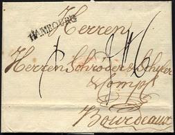 HAMBURG VORPHILA 1781, HAMBOURG, L1 Auf Brief Nach Bordeaux, Pracht - Thurn And Taxis