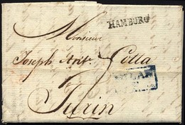 HAMBURG VORPHILA 1800, HAMBURG, L1 Auf Brief Nach Turin, Blauer Durchgangsstempel Von MILAN, Pracht - Thurn And Taxis