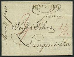 HAMBURG VORPHILA 1818, HAMBOURG, L1 Auf Brief Nach Langensalza, Pracht - Thurn And Taxis