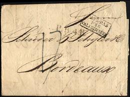 HAMBURG VORPHILA 1826, P.B.4.R., L1 Und R3 PAYS-BAS PAR VALENCIENNES Auf Brief Von Hamburg Nach Bordeaux, Pracht - Thurn And Taxis