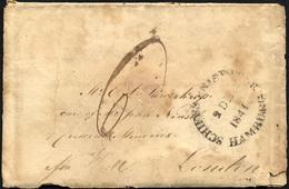 HAMBURG VORPHILA 1841, SCHIFFS BRIEF-POST HAMBURG, Auf Brief For Hull Nach London, Rückseitiger L2 HULL/SHIP LETTER Und  - Thurn And Taxis