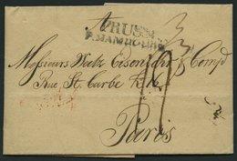 HAMBURG VORPHILA 1812, PRUSSE P. HAMBOURG, L2 Auf Brief Von Berlin Nach Paris, Rückseitig Großer Roter Datumsstempel, Pr - Thurn And Taxis
