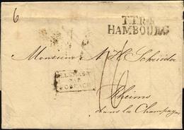 HAMBURG - THURN UND TAXISCHES O.P.A. 1823, TT.R.4 HAMBOURG, L2 Auf Brief Von Altona Nach Rheims, R3 ALLEMAGNE/PAR/FORBAC - Thurn And Taxis