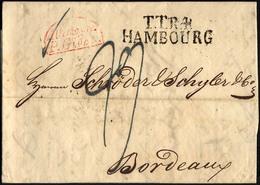HAMBURG - THURN UND TAXISCHES O.P.A. 1829, TT.R.4. HAMBOURG, L2 Auf Brief Nach Bordeaux, Roter Segmentstempel ALLEMAGNE  - Thurn And Taxis