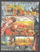 Kyrgyzstann 2004,6V In Block,elephant,olifant,elefanten,éléphant,elefante,buffalo,zebra,lion,giraffe,MNH/Postfris(L3202) - Elephants