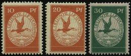 Dt. Reich 1-III *, 1912, Flugpost Am Rhein- Und Main, Falzrest, üblich Gezähnter Prachtsatz, Mi. 70.- - Germany