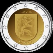 2 Euro COIN  Latvia 2017  Region  ~~ KURZEME KURLAND ~~ Commemorative Coin LETTLAND LETTONIA  UNC FROM  MINT ROLL - Lettonie