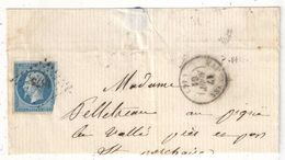 MARENNES - Charente Maritime - N° 14 Oblitéré PC 1873 Sur Devant De Lettre - Marcofilie (Brieven)