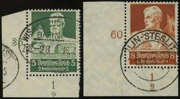 Dt. Reich 558,560 O, 1934, 4 Und 8 Pf. Stände, Je Aus Der Linken Unteren Bogenecke Mit Form-Nr. 2, Pracht - Germany