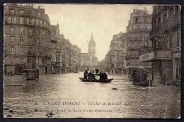 CPA ANCIENNE FRANCE- PARIS (75)- INONDATIONS 1910- RUE DE LYON  ET LA GARE- BARQUES DE SAUVETAGE- CRUE MAXIMUM 9,50m- - Paris Flood, 1910