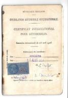CERTIFICAT INTERNATIONAL POUR AUTOMOBILES....  TIMBRE FISCAL...1937... BE - Documents Historiques
