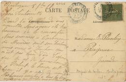 CACHET CONVOYEUR BAGNERES DE LUCHON MONTREJEAU BLEU CPA BARBAZAN LA BUVETTE - Railway Post