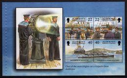 Alderney Prestige Booklet Pane Showing Searchlight On Torpedo Boat Destroyer. - Alderney