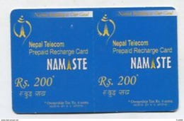 TK 24621 NEPAL - Prepaid Namaste Rs.200 - 2 Times = Rd 400 Printed Together - Nepal