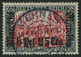 DP IN MAROKKO 58IAa O, 1911, 6 P. 25 C. Auf 5 M., Friedensdruck, Stempel MEKNES, Pracht, Gepr. Pauligk, Mi. (420.-) - Offices: Morocco