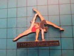 Pin413b Pin's Pins / Beau Et Rare :  CLUB DE GYMNASTIQUE POUTRE GYM 2000 QUERQUEVILLE Double Attache  Marquage Au Dos : - Gymnastics