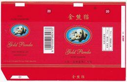 Panda - Giant Panda, GOLD PANDA Cigarette Box, Soft, Red Inlaid WT-thread, Taiyuan Cigarette Factory, Shanxi, China - Empty Cigarettes Boxes