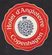 Danemark Etiquette Valise Hotel D' Angleterre Copenhagen Denmark Luggage Label - Hotel Labels