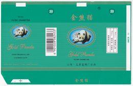 Panda - Giant Panda, GOLD PANDA Cigarette Box, Soft, Sea-GN Inlaid WT-thread, Taiyuan Cigarette Factory, Shanxi, China - Empty Cigarettes Boxes