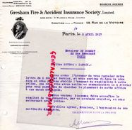 75-PARIS- RARE LETTRE GRESHAM FIRE & ACCIDENT INSURANCE SOCIETY-ST MILDRED'S HOUSE LONDRES-LONDON-58 RUE VICTOIRE-1917- - Banque & Assurance